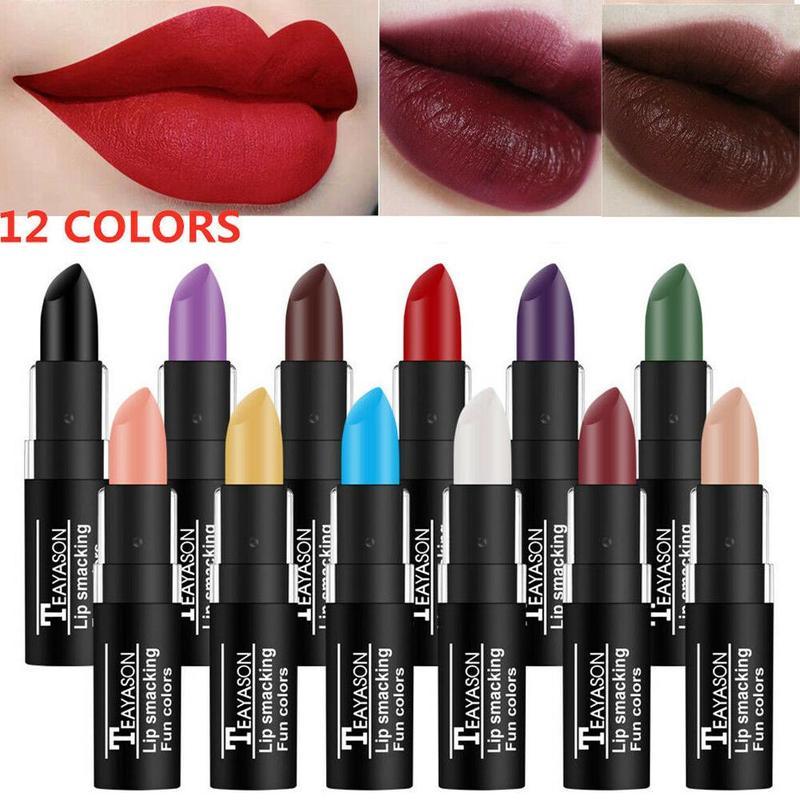 Wasserdicht Lippenstift Sexy Vampire Lip Stick Matte Samt Lippenstifte Rot Lippen Farbe 12 Farbe Damen Make-Up