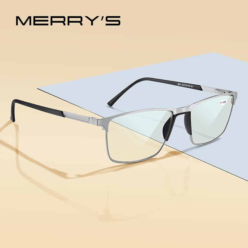 MERRYS تصميم مكافحة الضوء الأزرق حجب الرجال نظارات للقراءة CR-39 الراتنج شبه الكروي نظارات العدسات 1.00 + 1.50 + 2.00 + 2.50 S2001FLH