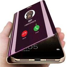 Étui pour Samsung à rabat Galaxy A8 2018 SM A530 A530F clair vue miroir housse en cuir pour Samsung Galaxy A8 Plus 2018 A730 A730F
