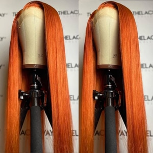 Ginger Orange Color Synthetic Hair Lace Front Wigs with Baby Hair 28'' Straight Glueless Lace Wigs with Pre Plucked For Women