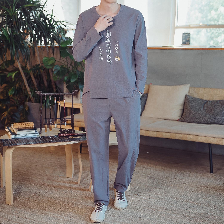 2021 two piece men's Linen Pants loose large men's Embroidery suit top bottom suit