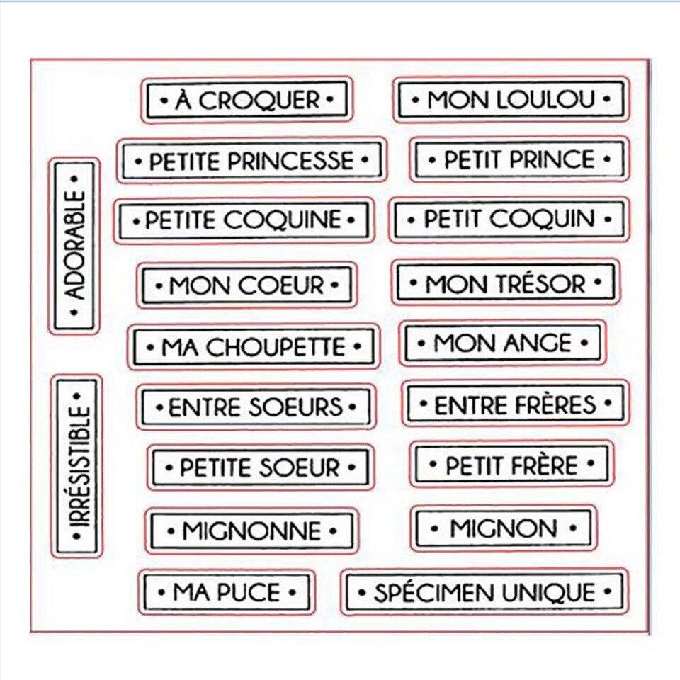 14*14 neue Ankunft Französisch Worte Klare Stempel Transparent Silikon Dichtung für DIY Scrapbooking Fotoalbum Dekoration Stempel Blatt