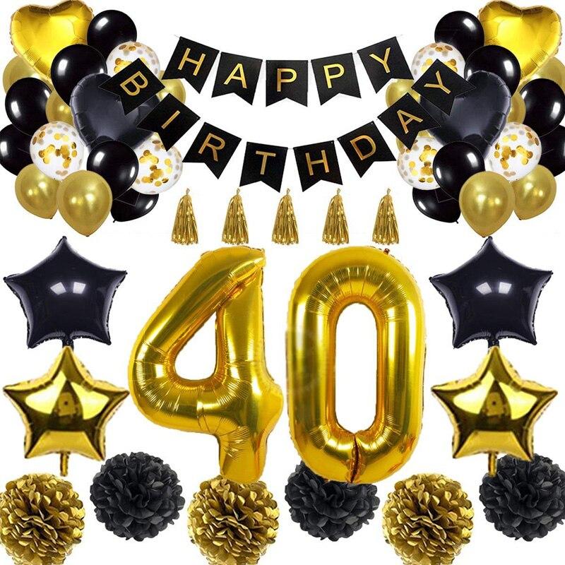 زينة حفلات أعياد الميلاد ، لافتة بالون ذهبي أسود ، بدلة احتفال للبالغين ، مقاس كبير 30/40/50/70 ، رقائق هيليوم