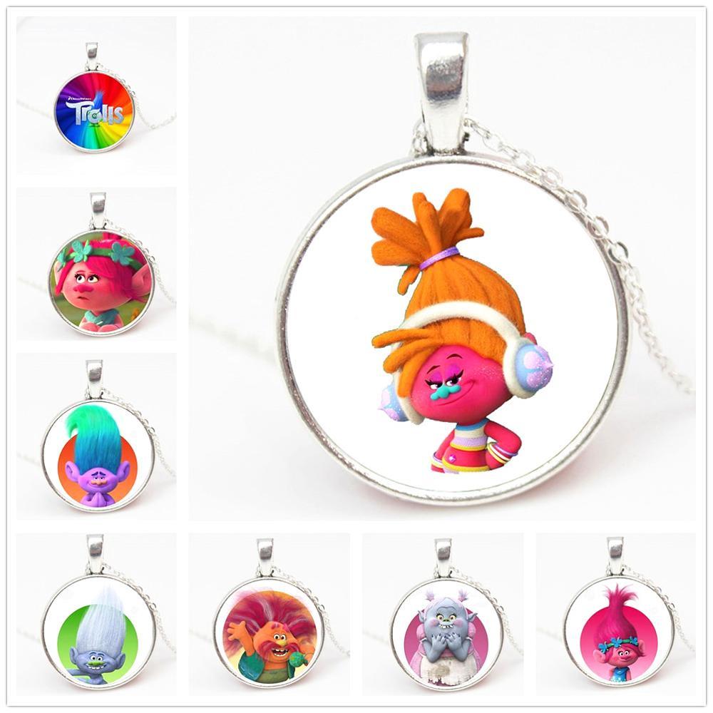 Collar con colgante de cristal de trol elfo mágico de 3 colores, collar con colgante de cristal para niños, juguetes de vestir, joyería de regalo de dibujos animados PN018
