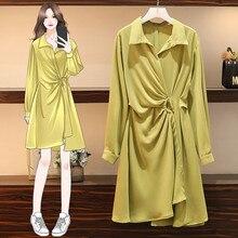 2020 nuevo vestido coreano de Primavera de verano de talla grande vestido elegante de mujer de moda manga larga Color sólido vestido ajustado g315