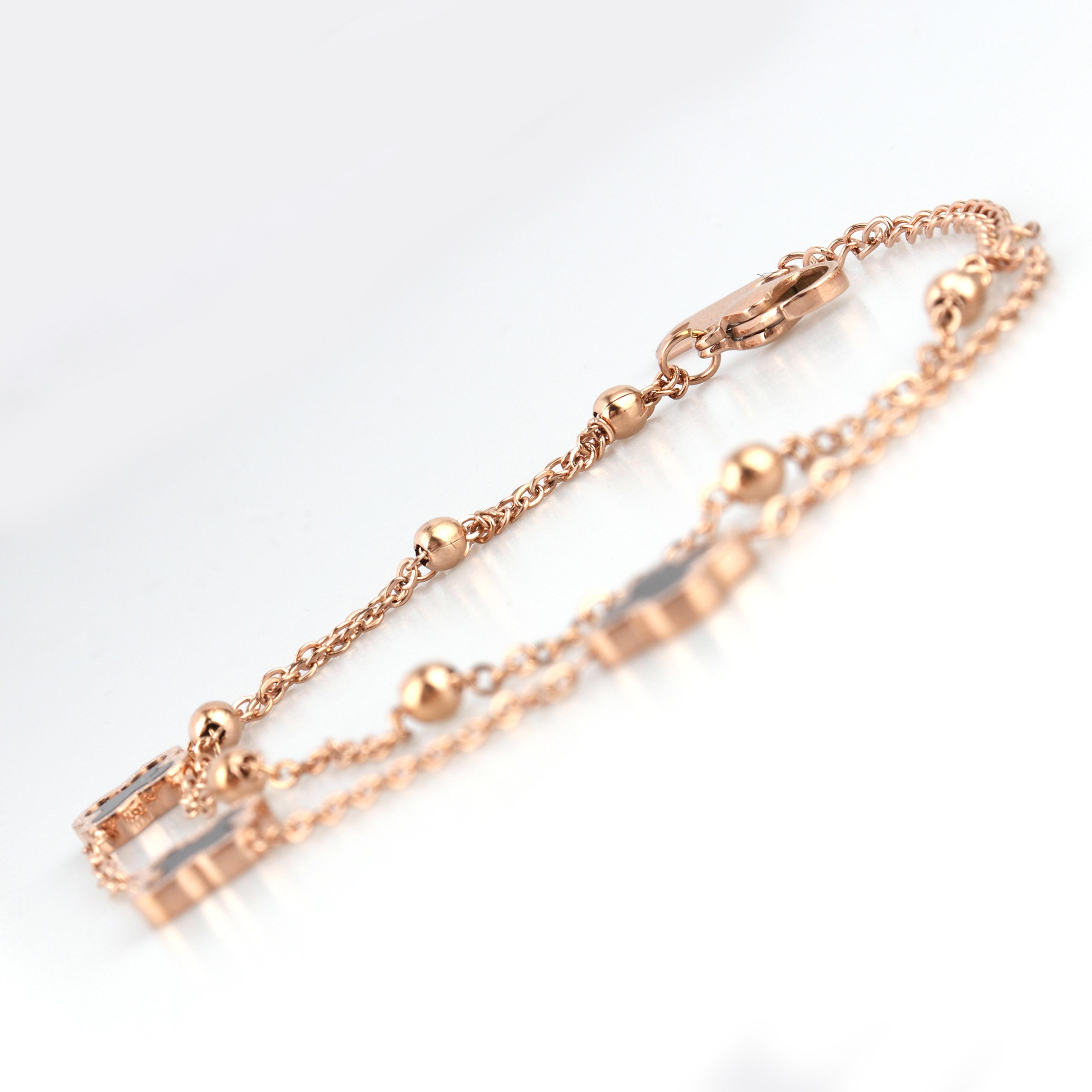 Pun senhora charme grânulo pulseira de corrente de aço inoxidável cobra corrente amor duplo-face concha grânulo pulseira moda jóias