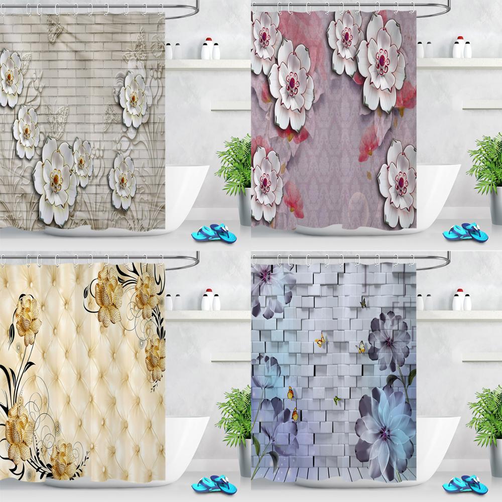 Cortinas de ducha de flores de mariposa, decoración de baño, barroca, cortina de ducha de baño, cortina de tela impermeable Floral con ganchos
