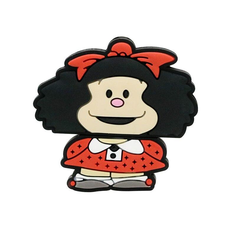 Chica encantadora USB Flash Drive Mafalda USB 2,0 Pen Drive 128GB Usb Pendrive Flash de 64GB Tarjeta de 32GB de memoria Flash disco