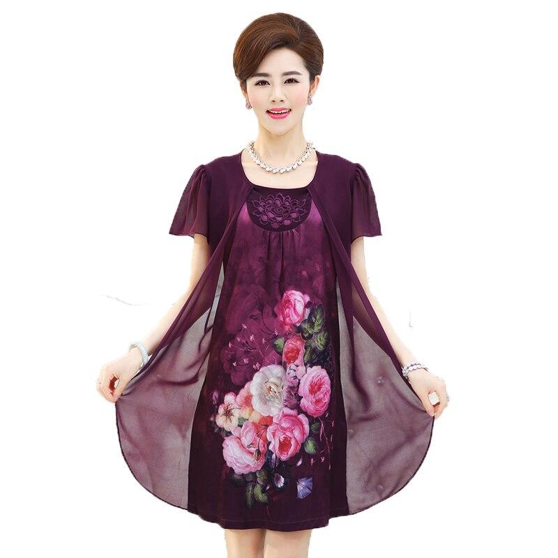 2020 Summer New Fashion Mother Clothing Faux Two Piece Lady Chiffon Dress vestidos Plus Size Print Short Sleeve Women Dresses