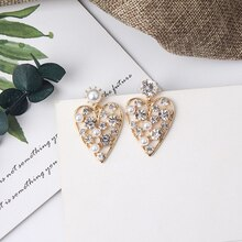 MWsonya Love Heart Transparent Resin Pearl Drop Statement Earrings Women Holiday Wind Jewelry
