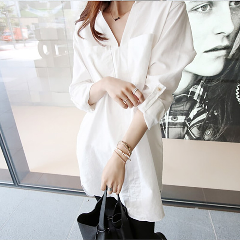 Long Blouses White Long Sleeve Cotton Women Loose Casual Fashion Blouse Womens Turn-Down Collar Tops Shirts Streetwear Female