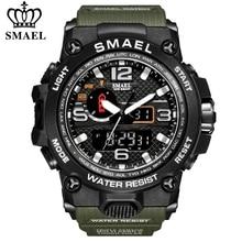 SMAEL-relojes deportivos para hombre, pulsera de cuarzo electrónica, analógica, Digital, LED, de doble pantalla, resistente al agua, militar, para natación