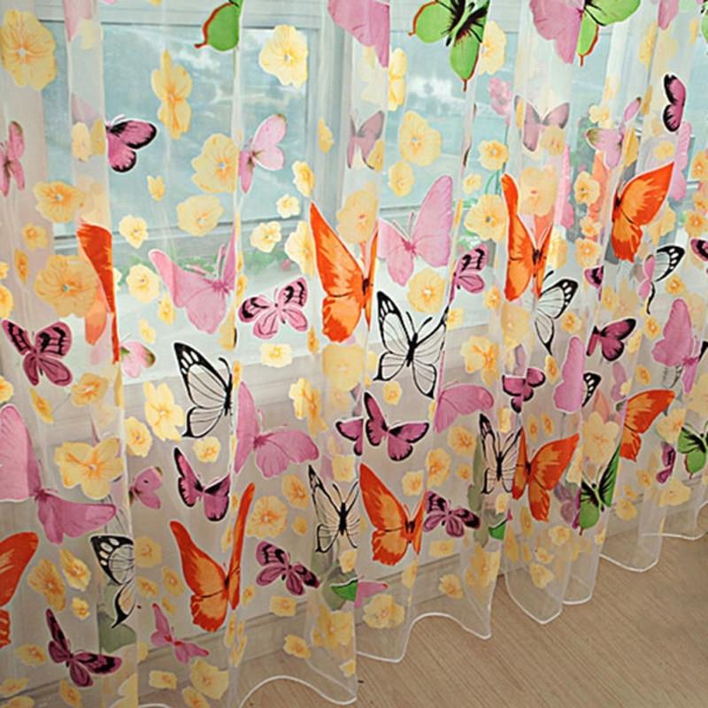 Cortina de tul estampada de mariposa colorida de 95x200CM para sala de estar, cortinas transparentes para ventana, cortinas decorativas para dormitorio, Salón Rideau