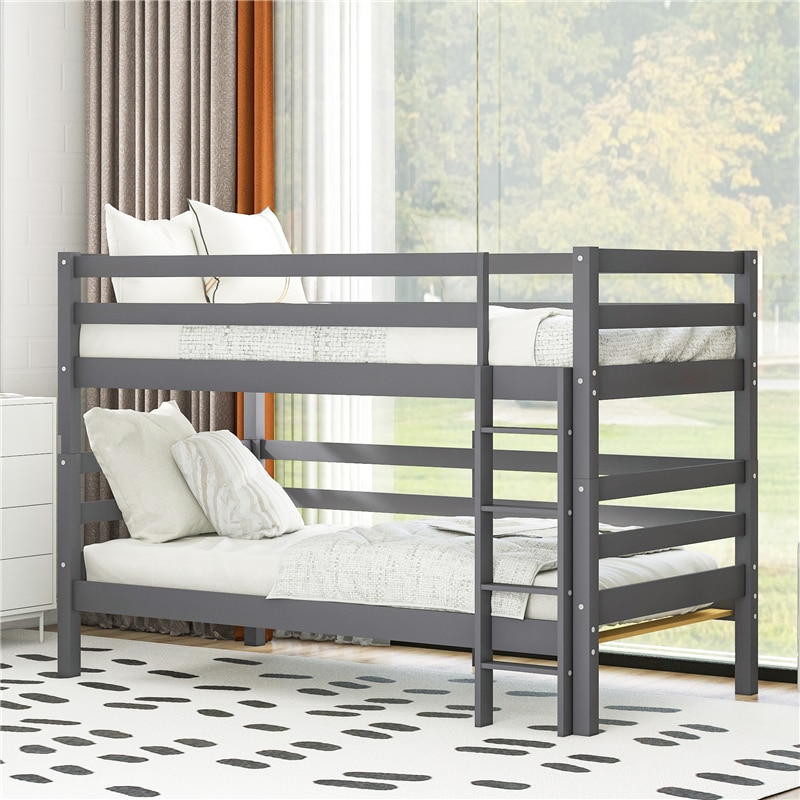 Pine Wood Loft Bed Movable 2 Beds Wooden Frame Assembled Twin Size Bunk Bed with Full-length Guardrail & Ladder for Adult Child