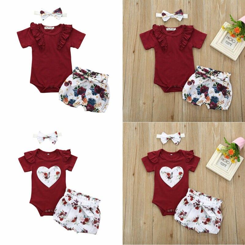 Комплект из 3 предметов для новорожденных девочек, топ с оборками + шорты с цветами + повязка на голову, AA, 2020