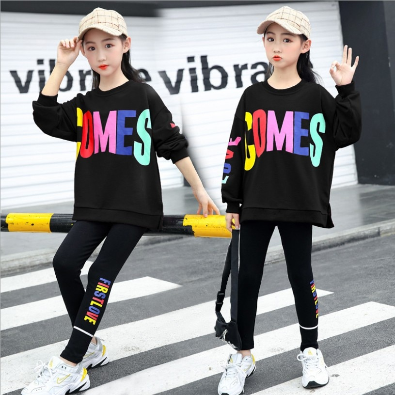 Girls Clothes Sets Autumn Spring Long Sleeve Sweater + Pants Fashion Children Clothing Suits Kids Tracksuit 5 6 7 8 9 10 12 Year girls sweater turtleneck knitted long sleeve kids clothes autumn 2018 casual children school uniform size 8 10 12 13 15 year