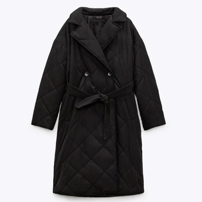 جديد الشتاء النساء طويلة معطف بركة (سترة من الفراء بقبعة للقطب الشمالي) عارضة مع حزام سترة الإناث