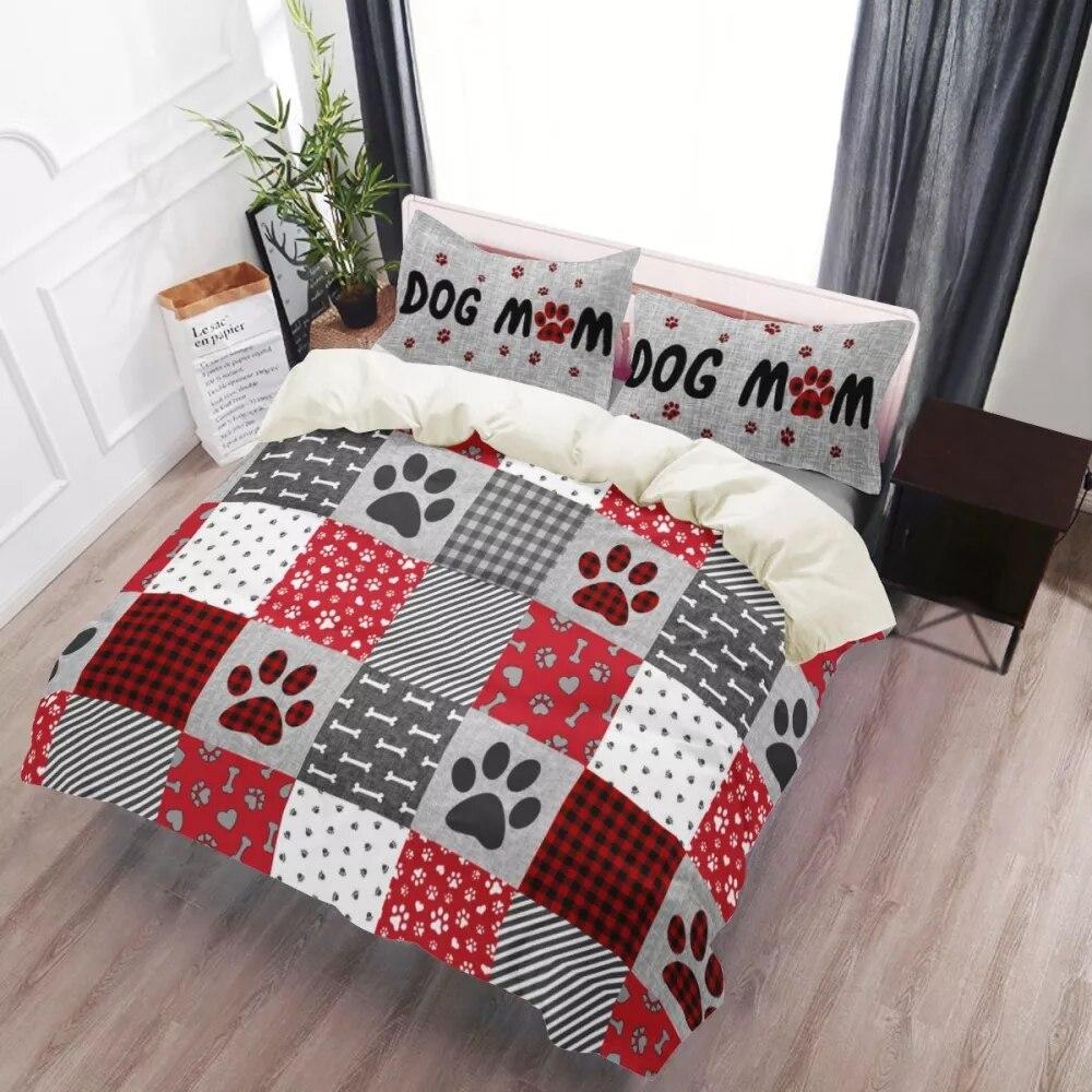 طقم سرير الملكة حجم حاف الغطاء الكلب باو الكرتون يطبع المعزي مجموعة غطاء Housse دي Couette المفارش 3 قطعة طقم سرير