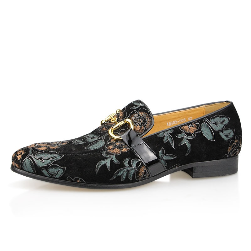 Summer Mens 2021 New Arrival Luxury Casual One-step Breathabl Loafers Synthetic Floral Fashion  Metal Decoration ABS03 Man Shoes