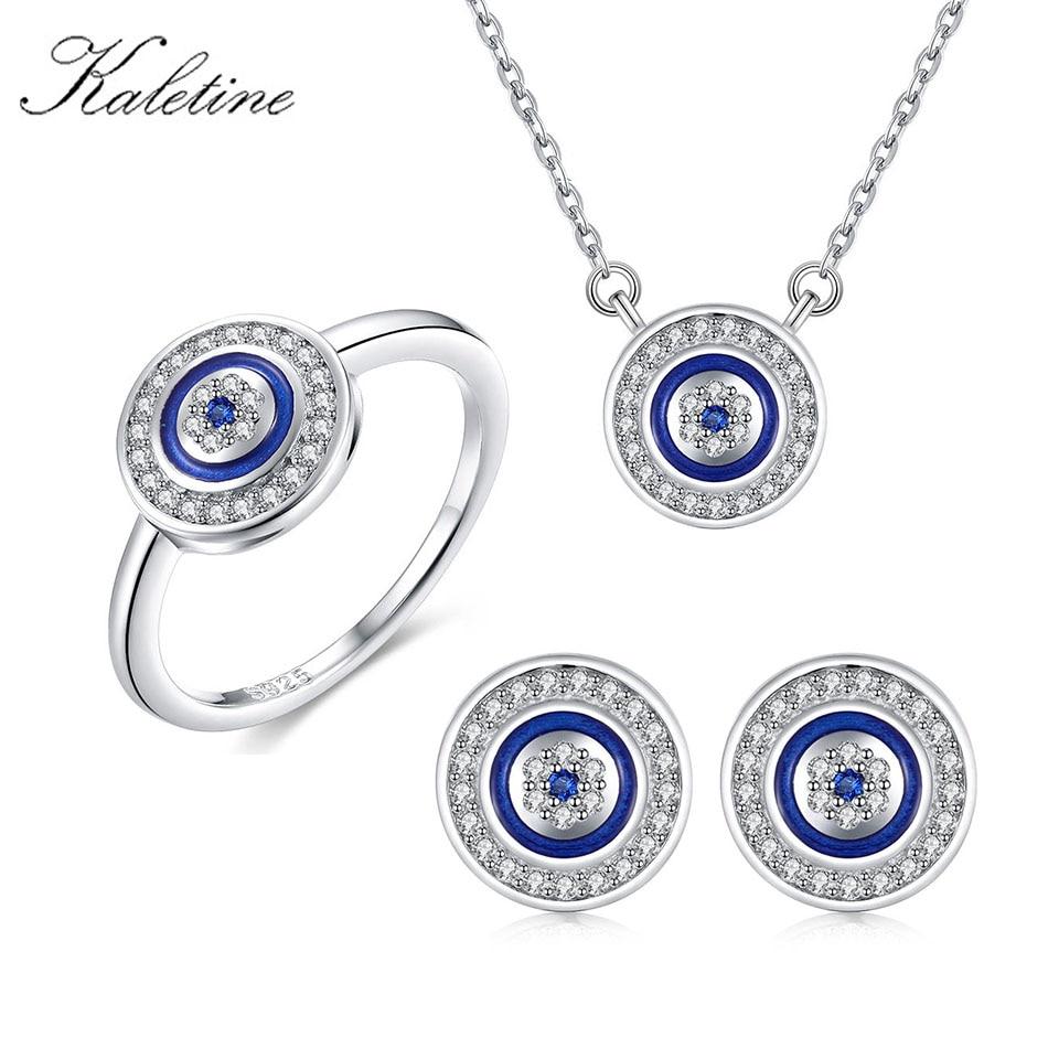 KALETINE-مجموعة مجوهرات من الفضة الإسترليني عيار 925 مع عين الشر ، قلادة زرقاء مستديرة ، قلادة ، خاتم وأقراط مرصعة بالزركونيا ، تركيا
