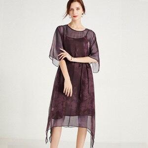 Silk Dress Woman Summer New Fashion Loose Elegant Dress Plus Size O Neck Short Sleeve High Waist Mulberry Silk Two-Piece Dresses