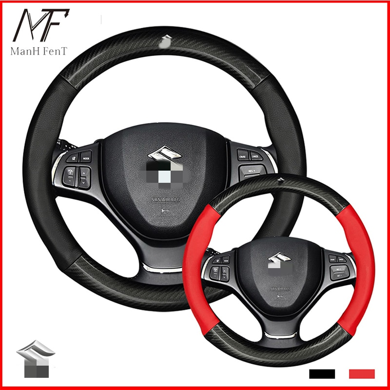 ManH FenT Suzuki capa de volante de couro fibra de carbono suzuki vitara swift jimny sx4 s cruz dzire celerio ertiga apv