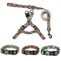 fashion stripes dog harness collar leash set adjustable dogs chest back traction pet nylon durable outdoor walking rope chain