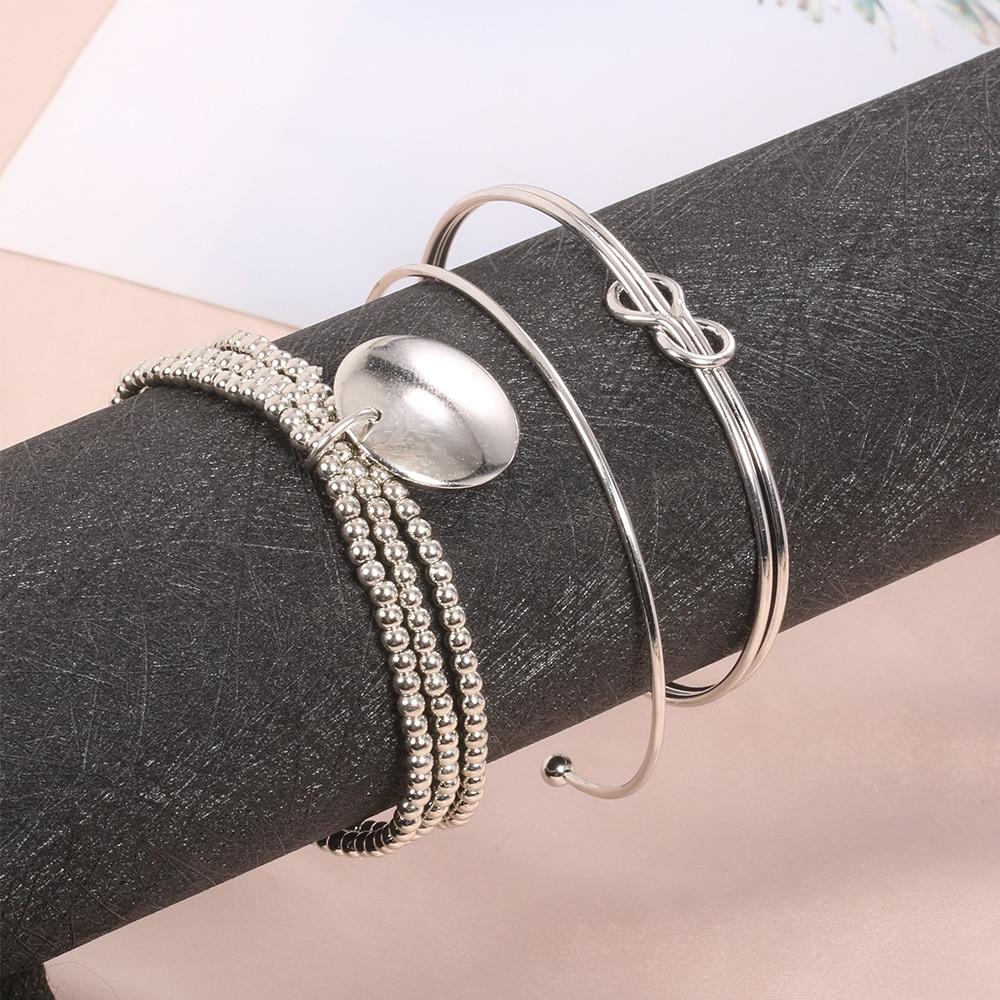Charm Bracelets for Women 2021 Fashion Bright Bracelet Silver Color Knot Beaded Hand Jewelry 3 Set Wholesale Bulk Pulseras Mujer