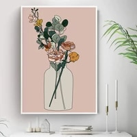boho style minimalist flower and vase botanical canvas art painting nordic posters and prints wall picture for living room decor