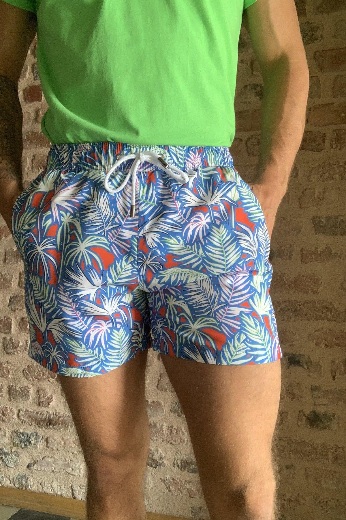 Trendyol Male Flower Print Sea Shorts TMNSS20DS0011