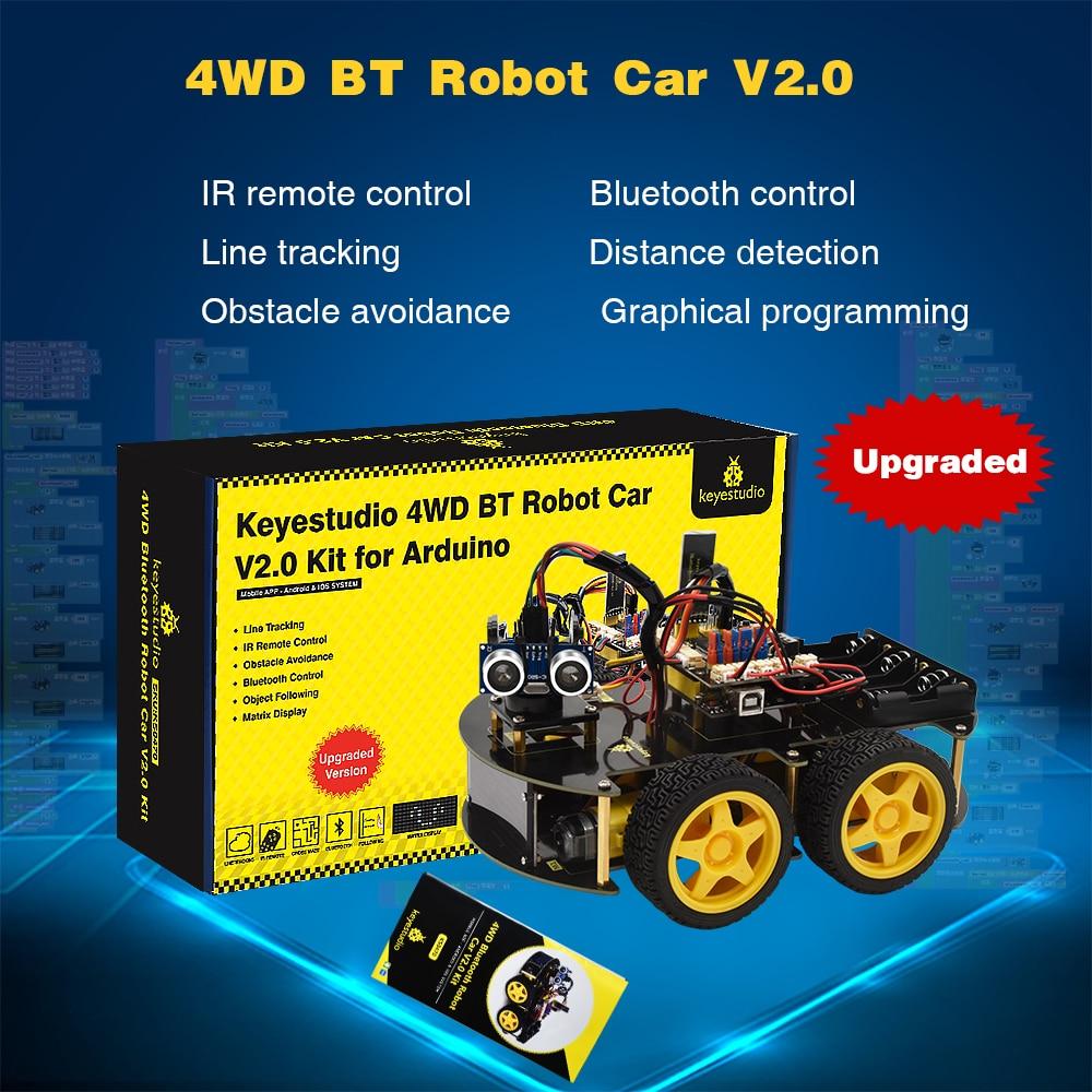 Keyestudio 4WD Multi BT Robot Car Kit Upgraded V2.0 W/LED Display  for Arduino Robot Stem EDU /Programming  Robot Car/DIY Kit