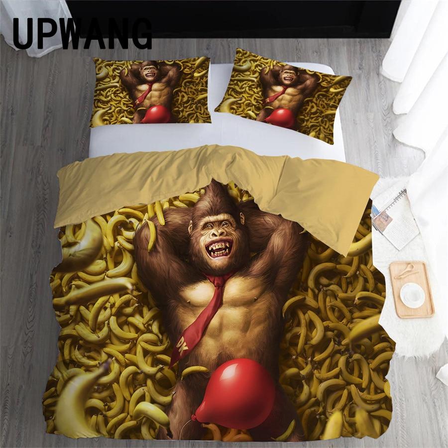 UPWANG-طقم أغطية سرير بطبعة حيوانات ، طقم سرير مع غطاء لحاف/لحاف وأكياس وسادة