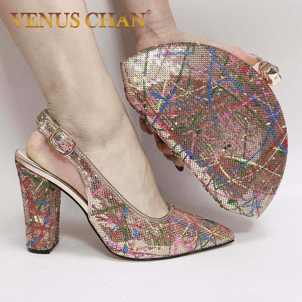 Sapatos com Correspondência Sapatos e Bolsas para Combinar Sapatos e Bolsa Conjunto para Casamento Bombas de Festa Novo Italiano Bolsas Strass Feminina