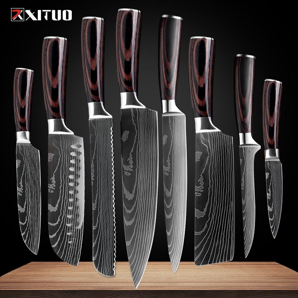 Juego de cuchillos profesionales de Chef XITUO, 8 uds, diseño de Damasco láser japonés, cuchillos de cuchilla de acero inoxidable, herramienta de corte Santoku, madera