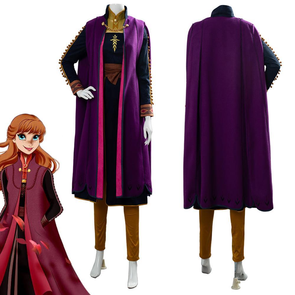 (Auf Lager) olaf's Adventure Anna Cosplay Kostüm Halloween Phantasie Schnee Wachsen Königin Prinzessin Kostüm Elsa Anna Kleid Erwachsene outfits