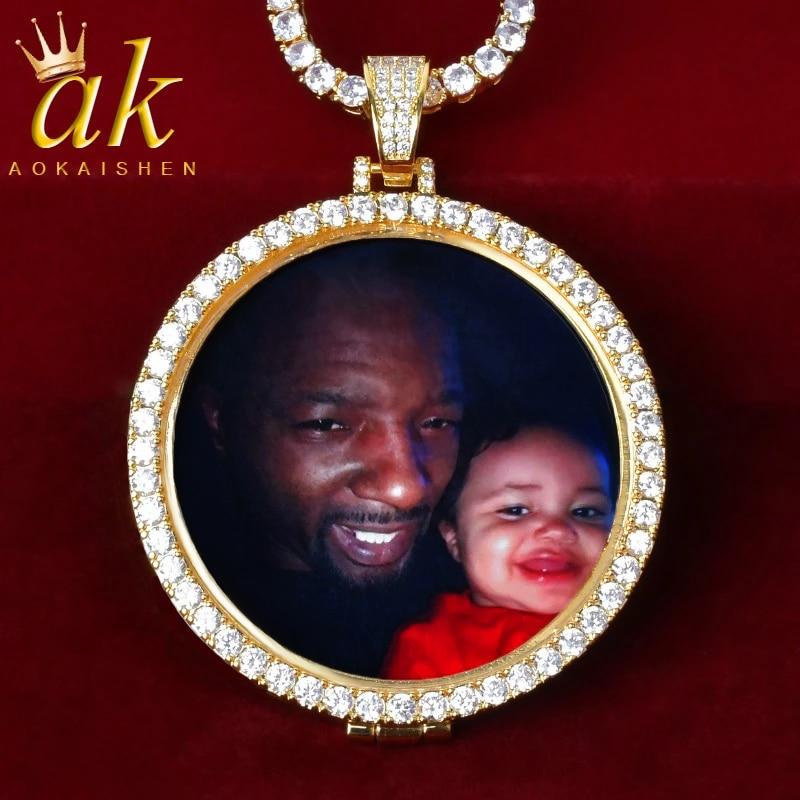 Custom Circle Photo Medallions Necklace & Pendant 4mm Tennis Chain Gold Color Cubic Zircon Men's Hip Hop Jewelry