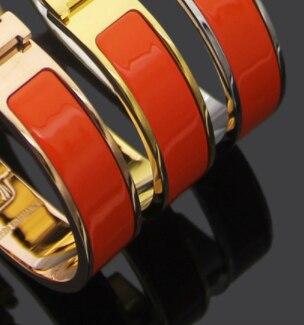 18 مللي متر التيتانيوم الصلب الذهب الكفة المينا هدية مجوهرات الرجال سوار للنساء H سوار 6.2*4.6 سنتيمتر