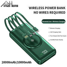 PINZHENG 20000mAh Wireless Power Bank Built-in 4 Cables Powerbank Portable External Battery Charger For iPhone 12 Pro Xiaomi 10