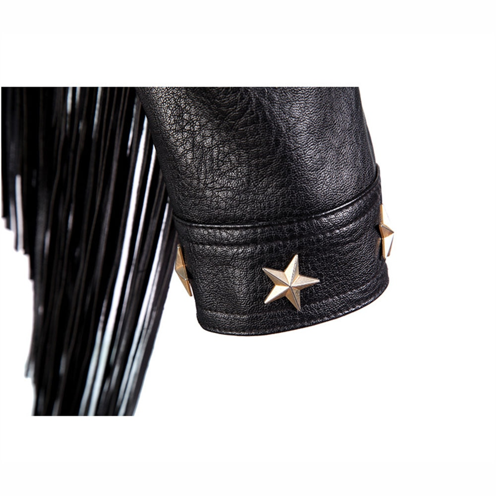 SX NEW Autumn winter Streetwear zipper Jacket Women Hand-studded Star Rivet Tassel Chain Short Jacket Loose Black casual Coats enlarge