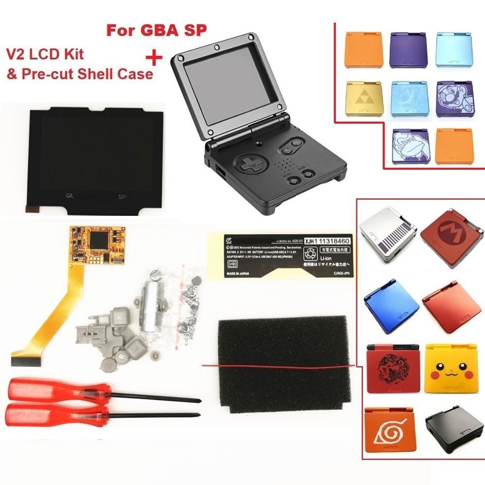 V2 IPS ekran LCD kitleri için GBA SP arkadan aydınlatmalı LCD ekran 5 seviyeleri parlaklık V2 ekran için GBA SP konsolu ve önceden kesilmiş kabuk durumda