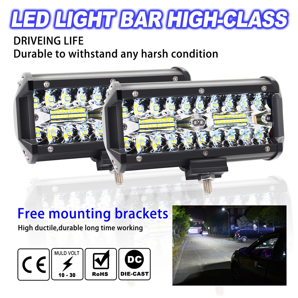 2PCS 480W 32000LM LED Car Offroad Work Light LED Light Bar Spot Beam Fog/Driving Fog Light Lamp Strip Light 4x4 Car Accessories