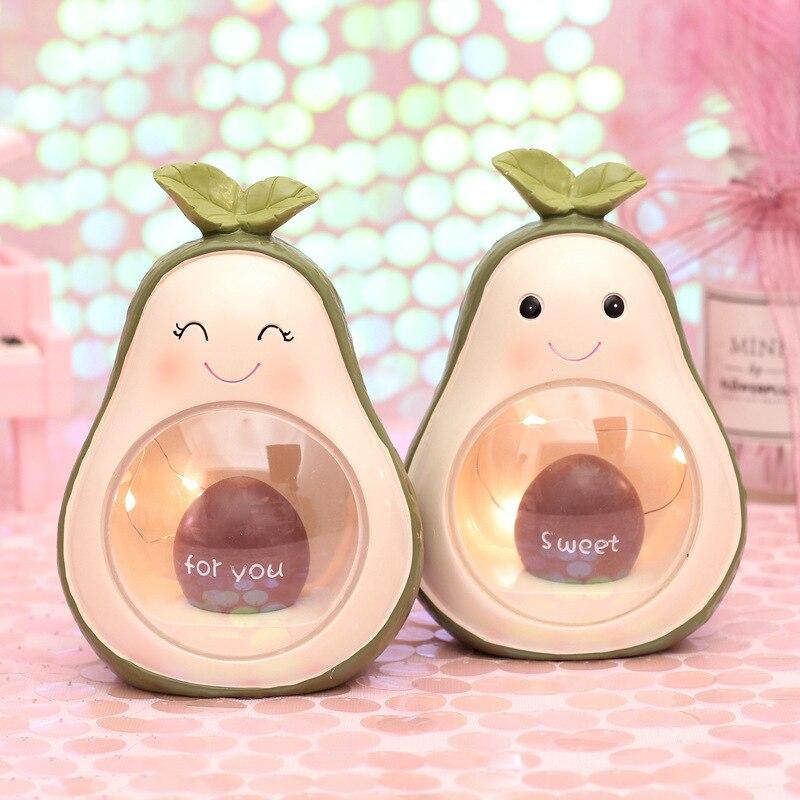 Милый светодиодный светильник из смолы с авокадо для украшения фруктов, прикроватные лампы для маленьких детей, подарок на Рождество и день...