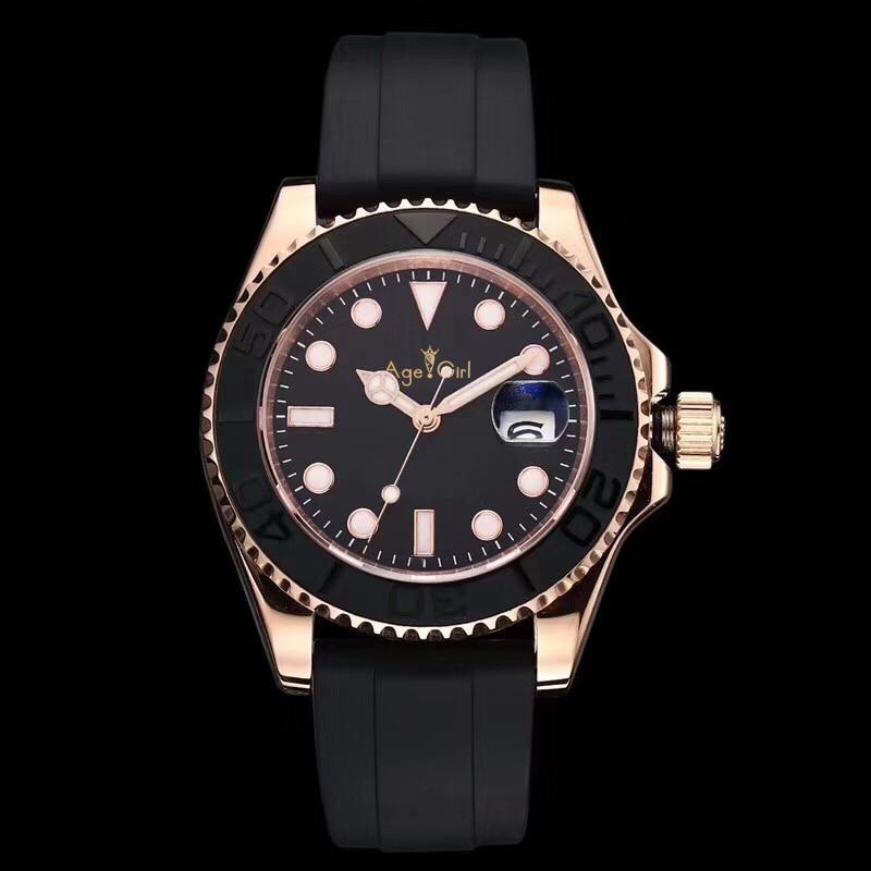 الكلاسيكية الجديدة المطاط الأسود ارتفع الذهب الفضة السيراميك الحافة الرجال ساعة الياقوت الزجاج التلقائي الساعات الرياضية الميكانيكية AAA +