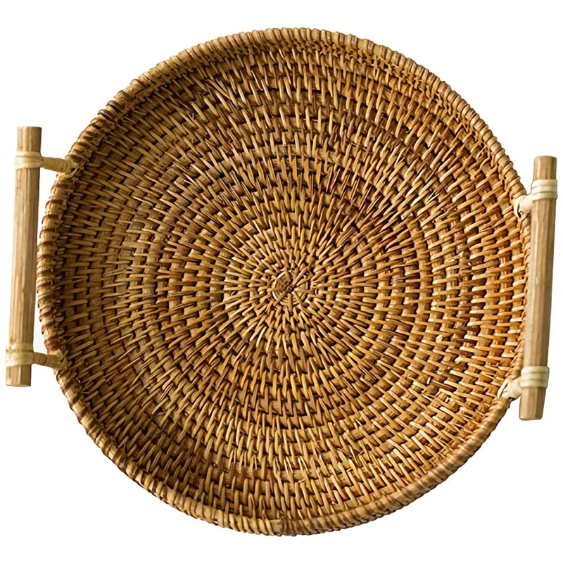 Profesional cesta de ratán para pan redondo tejido té bandeja con asas para servir la cena partes café desayuno (8,7 pulgadas)