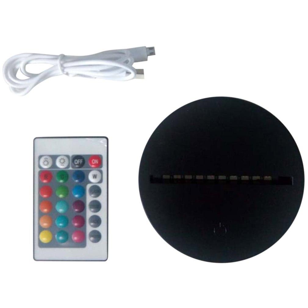 Bases de lámpara LED Cable USB Interruptor táctil luz nocturna con Control remoto 3D Led lámpara de noche montado Base de boda decoración de Navidad