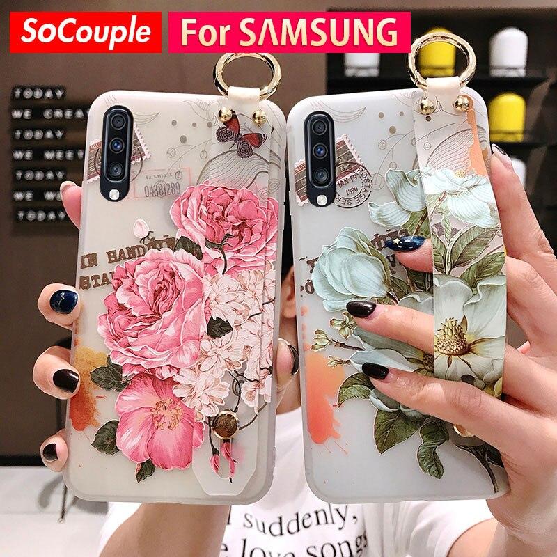 SoCouple держатель для телефона чехол для Samsung Galaxy S8 S9 S10 S20 plus Ultra A30 A50 s A70 A20 Note 8 9 10 мягкий ТПУ чехол на запястье