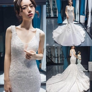 2021 New Evening Dresses Sexy V Neck Sleeveless Lace Appliques Prom Gowns Custom Made Sweep Train Mermaid Party Dress