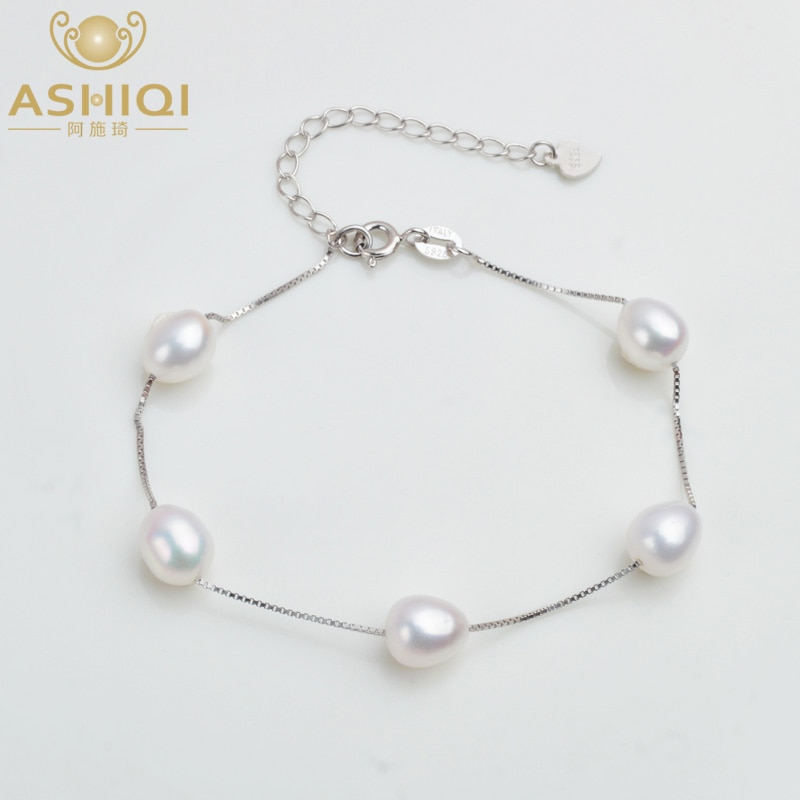 ASHIQI Genuine 925 Sterling Silver Bracelet For Women 7-8mm Natural Freshwater Pearl jewelry 4 Colours natural freshwater exquisite pearl bracelet women jewelry white pearl charms bracelet 925 silver jewelry wedding gift