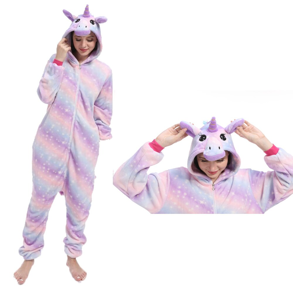 Kigurumi mulheres unicorn onesies unisex inverno crianças pijamas anime trajes adultos flanela pijamas homens