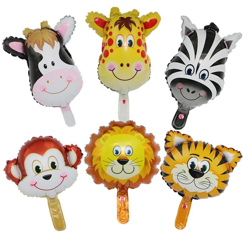 6pcs Animal Head Foil Balloons Tiger Lion Helium Balloon Jungle Party Globos Supplies Birthday Party Decorations Kids Toy Gifts cartoon balloon animal head aluminum film size m its head nylon foil balloons